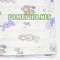 Белая детская фланелевая пелёнка 120х75 см (фланель, байковая, байка) теплая для пеленания 3307 Сиреневый