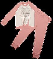 Пижама из бейки с красивым принтом, для девочек Ляля 3ТК153В р.122-128
