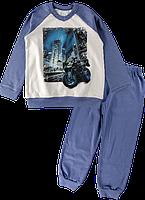 Пижама из бейки с красивым принтом, для мальчиков Ляля 3ТК140В р.122-128