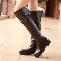 Для женщин Ботинки Удобная обувь Армейские ботинки Полиуретан Зима Повседневные Удобная обувь Армейские ботинки На плоской подошве Черный 05685238