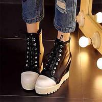Для женщин Ботинки Удобная обувь Армейские ботинки Полиуретан Зима Повседневные Удобная обувь Армейские ботинки На плоской подошве Черный 05685107