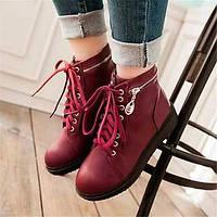 Для женщин Ботинки Удобная обувь Армейские ботинки Полиуретан Зима Повседневные Удобная обувь Армейские ботинки На плоской подошвеБелый 05685258