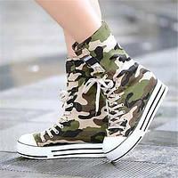 Для женщин Кеды Удобная обувь Полотно Лето Повседневные Удобная обувь На плоской подошве Зеленый На плоской подошве 05683247