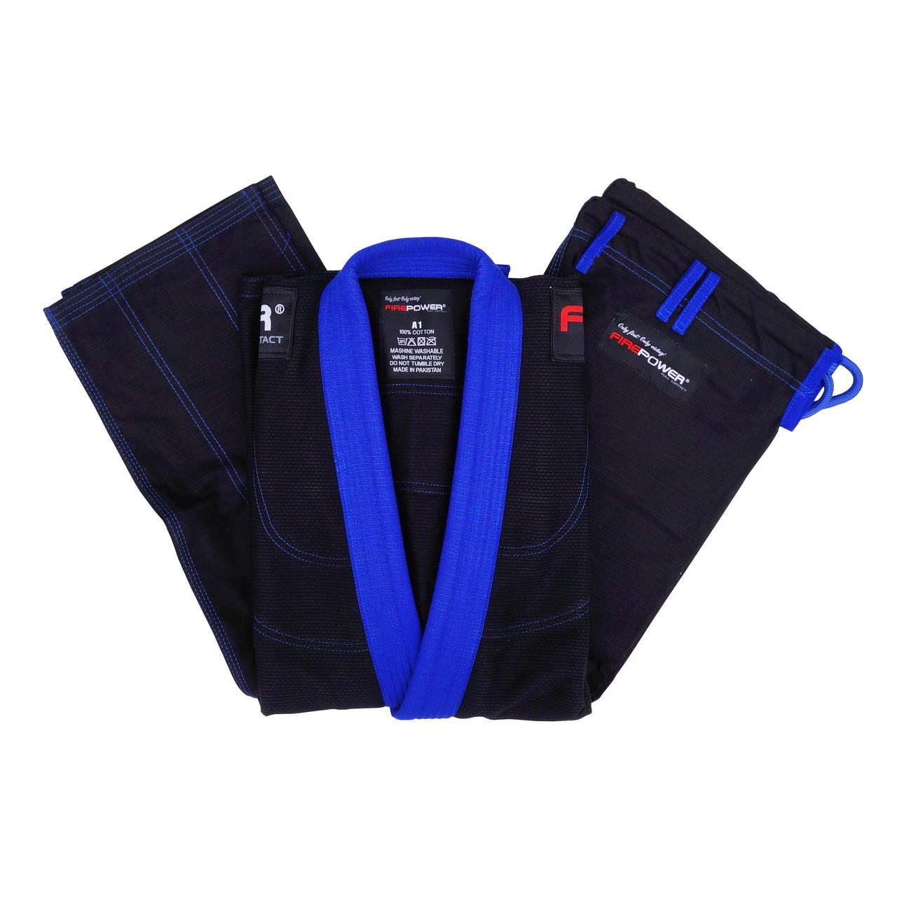 Кимоно для Бразильского Джиу-Джитсу Firepower Evolution Черное с синим