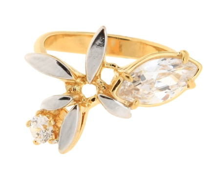 """Кольцо """"Малати"""" с фианитом, покрытое золотом (s019p0a0)"""