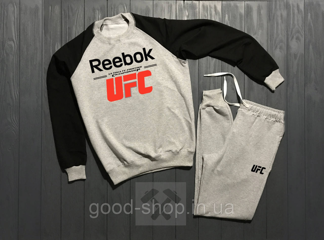 Мужской спортивный костюм Reebok черный с серым (люкс копия) d65f557ee9e