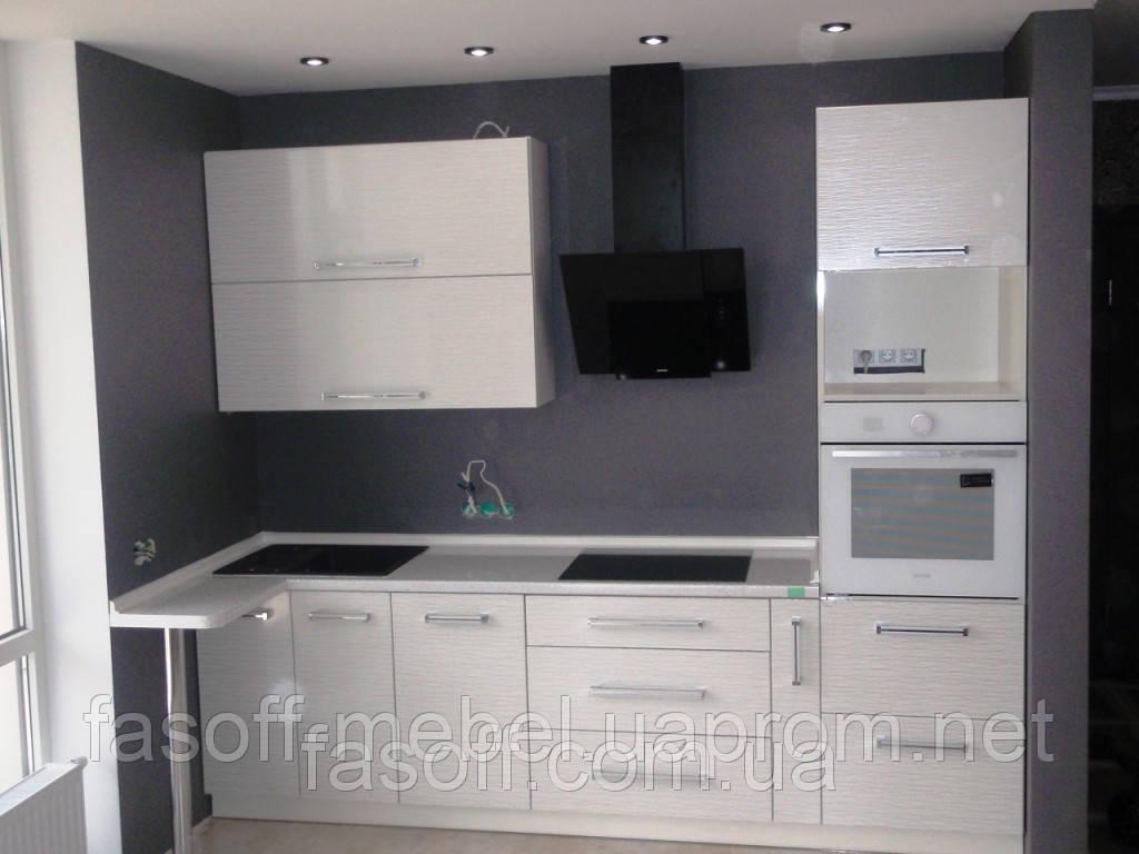 Кухня на заказ Киев МДФ пленочный белая вода 034