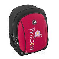 Рюкзак школьный, ортопедический, каркасный для девочки, красно-черный, фото 1