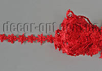 Кружево макраме цветочек красный 13мм/9м