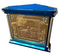 Жервенник 5 угольный из нитрид титана с литой иконой на дверце для храма