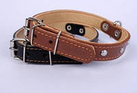 Ошейник COLLAR двойной с украшениями 14мм/ 27-35см 00136, коричневый