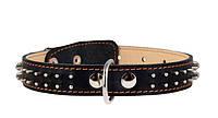Ошейник для собак COLLAR двойной с шипами в два ряда 35мм/48-63см 02851, чёрный