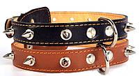 Ошейник для собак COLLAR двойной с шипами 35мм/48-63см 02876, коричневый