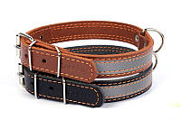 Ошейник для собак COLLAR со светоотражающей лентой 35мм/48-63см 02986, коричневый