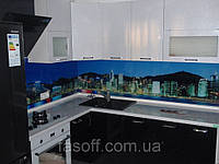 Кухня на заказ Киев со скинали. МДФ перламутр 035