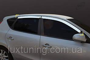 Дефлекторы окон хромированные SAFE Kia Ceed 07-11 / Hyundai I 30 07-11 кузов ХЭТЧБЕК