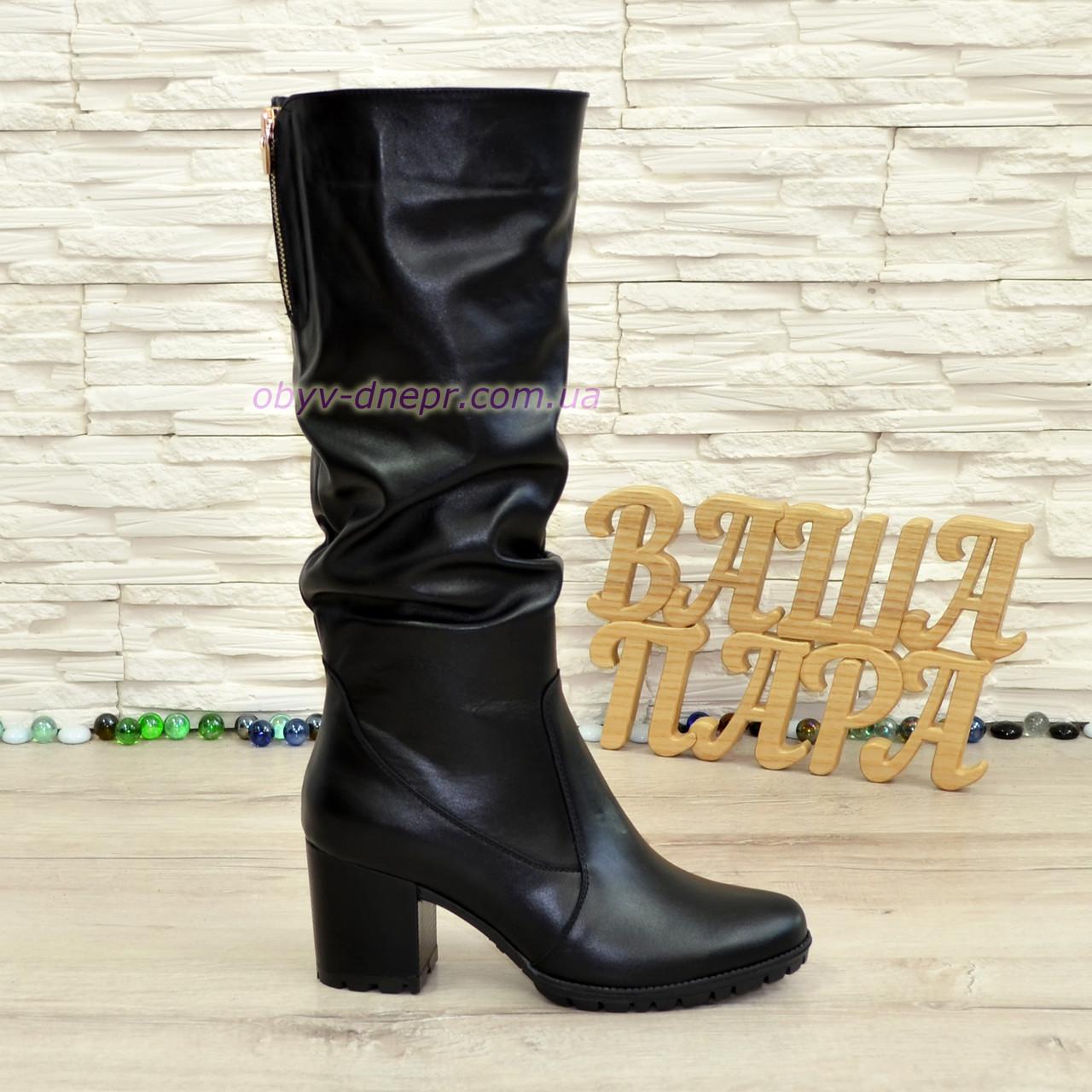 Сапоги женские зимние черные кожаные на устойчивом каблуке
