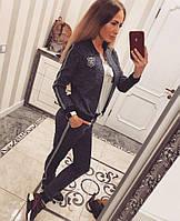 Женский стильный спортивный трикотажный костюм: мастерка и брюки (5 цветов) джинс, М