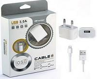 Зарядное устройство СЗУ TRAVEL CHARGER (2000 MAH) + кабель IPHONE 5 (2 in 1) белый