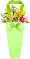 Бумажная сумка для цветов, зелёная