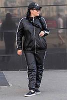 Черный спортивный костюм из плащевки большие размеры