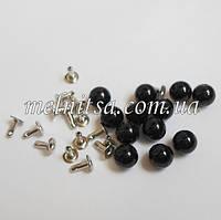 Бусины-жемчужинки с заклепками, 6 мм, 10 шт. цвет черный