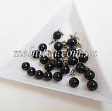Бусины-жемчужинки с заклепками, 6 мм, 10 шт. цвет черный, фото 2