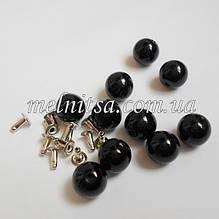 Бусины-жемчужинки с заклепками, 8 мм, 10 шт. цвет черный