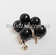 Бусины-жемчужинки с заклепками, 10 мм, 5 шт. цвет черный