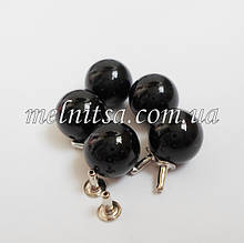 Намистини-перлинки з заклепками, 10 мм, 5 шт. колір чорний