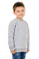 Свитшот Детский на Мальчика Рукав Реглан Серый 70% Хлопок 30% Полиэстер