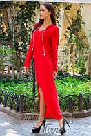 Асимметричное женское ангоровое платье с разрезом впереди.