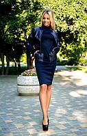 Костюм с болеро. Ткань: жакет - стеганая кожа, платье - французский трикотаж 3 цвета апро №232760