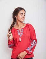 Стильная женская блуза в этническом стиле, красная