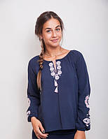 Стильная женская блуза в этническом стиле, темно-синяя