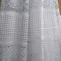 Тюль сетка белого цвета 1.5 м высотой.Гардина на кухонное окно.