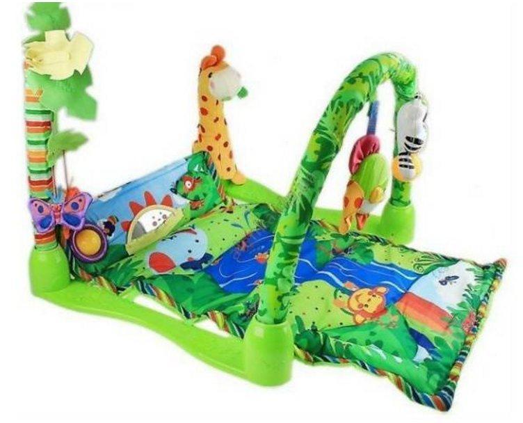 Развивающий коврик для малышей 555-2. Прямоугольный с жирафом.