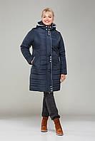 """Зимнее пальто """"Амелия"""" больших размеров,М-339 синее мемори"""