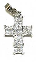 Крестик фирмы Xuping, цвет: серебряный. Камни: белый циркон. Высота крестика: 2,7 см. Ширина: 13 мм
