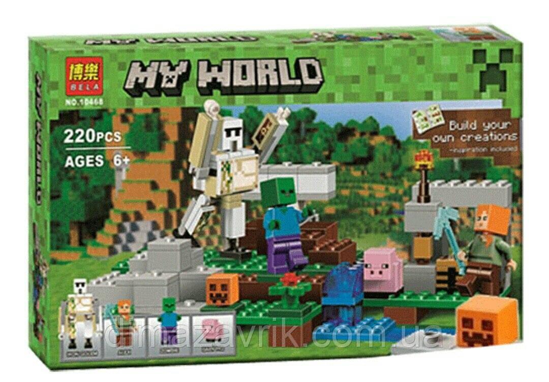 Конструктор Bela 10468 Железный голем (аналог Lego Майнкрафт, Minecraft  21123) 220 деталей -