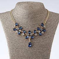 "Колье на цепочке ""Монако""  с синими кристаллами каплями L-40-52см цвет металла ""золото"""