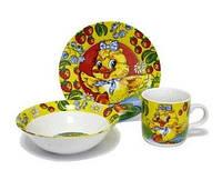 Детский набор посуды из фарфора Утенок, 3 предмета