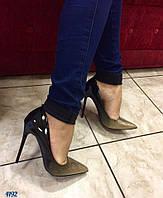 Женские лаковые туфли лодочки омбре золото блестки, каблук 11 см