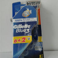 Станок мужской одноразовый Gillette Blue 3 ( Жиллетт блю 3 ) 6+2 шт., фото 1