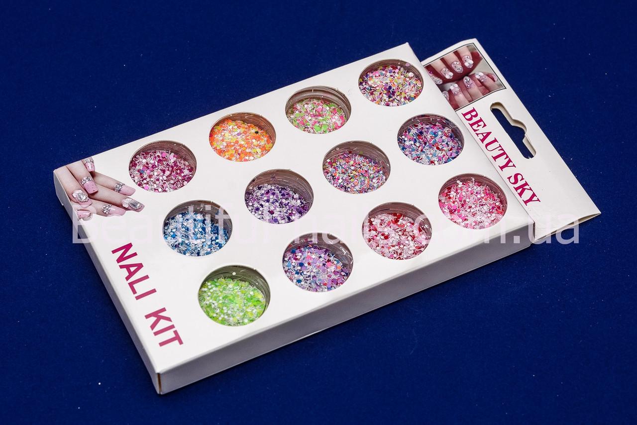 Набор шестигранников, для дизайна ногтей, цветные