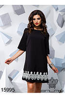 Стильное черное платье с белым кружевом оригинальный дизайн Balani (42,44,46)