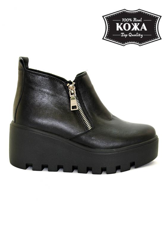 114f6dbae Купить Черные кожаные ботинки на высокой платформе 575839248 ...