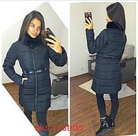 Женская длинная зимняя приталенная куртка