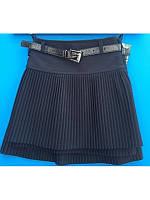 Модная школьная юбка темно синяя c поясом  р 116-134