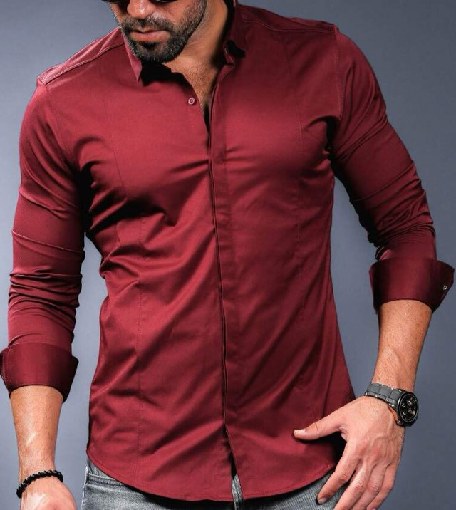 Бордова шикарна сорочка для чоловіків